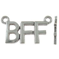 Letter Zinc Alloy Connector, antique silver color plated, 1/1 loop, nickel, lead & cadmium free, 35x20x2mm, Hole:Approx 2.5mm, Approx 285PCs/KG, Sold By KG