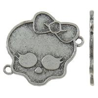 Złącze ze stopu cynku czaszki, Stop cynku, Czaszka, Platerowane kolorem starego srebra, kółko1/1, bez zawartości niklu, ołowiu i kadmu, 33x29x1.50mm, otwór:około 2mm, około 215komputery/KG, sprzedane przez KG
