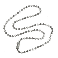 Stainless Steel Chain Necklace, ball chain, original color, 1.5mm, 5.5x2.5mm, Length:Approx 18 Inch, 200Strands/Lot, Sold By Lot