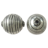 Copper Coated Plastic Beads, Oval, antique silver color plated, stripe, lead & cadmium free, 34x38mm, Hole:Approx 5mm, 10PCs/Bag, Sold By Bag