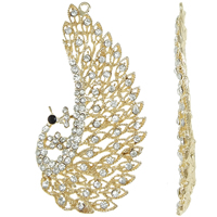 Zinc Alloy Animal Pendants, Peacock, gold color plated, with rhinestone, lead & cadmium free, 53x106x5mm, Hole:Approx 3mm, Sold By PC