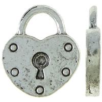 Sinkkiseos Lock riipukset, Lukko, antiikki hopea päällystetty, nikkeli, lyijy ja kadmium vapaa, 13x15x2mm, Reikä:N. 5mm, N. 665PC/KG, Myymät KG
