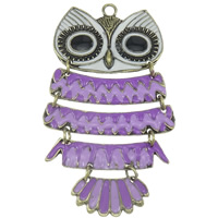 Zinc Alloy Animal Pendants, Owl, antique bronze color plated, enamel, purple, lead & cadmium free, 98x59x5mm, Hole:Approx 4mm, Sold By PC