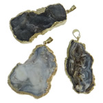 Agate Jewelry Pendants, Mixed Agate, with Brass, gilding, mixed, 23-35mm, Hole:Approx 5x7mm, 10PCs/Lot, Sold By Lot