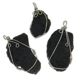 Gemstone Pendants Jewelry, Meteorite, natural, mixed, black, 23-31mm, Hole:Approx 5mm, 10PCs/Lot, Sold By Lot