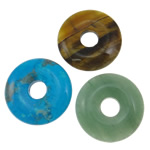 Mixed Gemstone Pendants, natural, 30x7mm, Hole:Approx 6-8mm, 20PCs/Lot, Sold By Lot