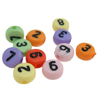 Alphabet Acrylic Beads, Coin, mixed colors, 7x4mm, Hole:Approx 1mm, 3600PCs/Bag, Sold By Bag