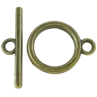 Zinc Alloy Toggle Clasp, Donut, antique bronze color plated, single-strand, nickel, lead & cadmium free, 23x5.5x2mm, 15x18.5x2mm, Hole:Approx 2.5mm, Approx 765Sets/KG, Sold By KG