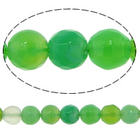 Natural Green Agate Beads, Round, faceted, 6mm, Hole:Approx 0.8-1mm, Length:Approx 15 Inch, 20Strands/Lot, 62PCs/Strand, Sold By Lot