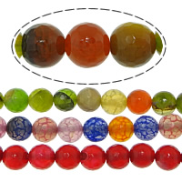 Agate Beads, Round, faceted, mixed colors, 8mm, Hole:Approx 0.8-1mm, Length:Approx 15 Inch, 20Strands/Lot, 48PCs/Strand, Sold By Lot