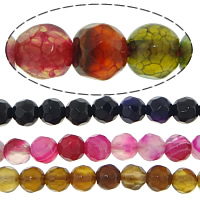 Agate Beads, Round, faceted, mixed colors, 4mm, Hole:Approx 0.8-1mm, Length:Approx 14.5 Inch, 20Strands/Lot, 92PCs/Strand, Sold By Lot