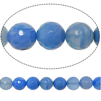 Natural Blue Agate Beads, Round, faceted, 10mm, Hole:Approx 0.5mm, Length:Approx 15 Inch, 10Strands/Lot, 38PCs/Strand, Sold By Lot