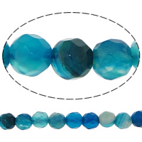 Natural Blue Agate Beads, Round, faceted, 4mm, Hole:Approx 0.8-1mm, Length:Approx 14.5 Inch, 20Strands/Lot, 92PCs/Strand, Sold By Lot