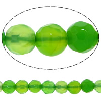 Natural Green Agate Beads, Round, faceted, 4mm, Hole:Approx 0.8-1mm, Length:Approx 14.5 Inch, 20Strands/Lot, 92PCs/Strand, Sold By Lot