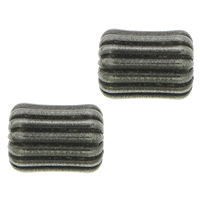 Rustfrit stål Bølgepap Perler, 304 roestvrij staal, Ovaal, lood zwarte kleur vergulde, gegolfd, 8x6mm, Gat:Ca 2mm, 100pC's/Lot, Verkocht door Lot