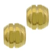 Roestvrijstaal Grote Gat Kralen, 304 roestvrij staal, Drum, gold plated, groot gat, 10x12mm, Gat:Ca 6.5mm, 100pC's/Lot, Verkocht door Lot