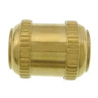Roestvrijstaal Grote Gat Kralen, 304 roestvrij staal, Buis, gold plated, groot gat, 13x10x9mm, Gat:Ca 4mm, 100pC's/Lot, Verkocht door Lot