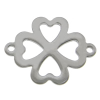 Stainless Steel Connector, 304 Stainless Steel, Four Leaf Clover, 1/1 loop, original color, 21x16.50x1.20mm, Hole:Approx 1.2mm, 200PCs/Lot, Sold By Lot