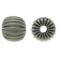 Rustfrit stål Bølgepap Perler, 304 roestvrij staal, Drum, lood zwarte kleur vergulde, gegolfd, 7x7.50mm, Gat:Ca 2mm, 100pC's/Lot, Verkocht door Lot