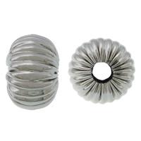 Falista ze stali nierdzewnej koraliki, Stal nierdzewna 304, Okrąg, falisty, oryginalny kolor, 7x10mm, otwór:około 3mm, 100komputery/wiele, sprzedane przez wiele