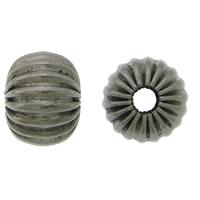 Falista ze stali nierdzewnej koraliki, Stal nierdzewna 304, Okrąg, Platerowane plombem w czarnym kolorze, falisty, 6.50x8mm, otwór:około 2.5mm, 100komputery/wiele, sprzedane przez wiele