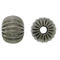 Rustfrit stål Bølgepap Perler, 304 roestvrij staal, Rondelle, lood zwarte kleur vergulde, gegolfd, 6.50x8mm, Gat:Ca 2.5mm, 100pC's/Lot, Verkocht door Lot
