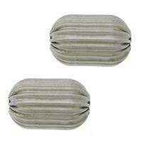 Rustfrit stål Bølgepap Perler, 304 roestvrij staal, Ovaal, gegolfd, oorspronkelijke kleur, 15x10mm, Gat:Ca 3mm, 100pC's/Lot, Verkocht door Lot
