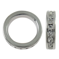 Messing Linking Ring, Donut, platinum plated, micro pave zirconia, nikkel, lood en cadmium vrij, 13x3mm, Gat:Ca 9.5mm, 5pC's/Bag, Verkocht door Bag