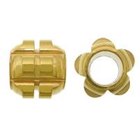 Roestvrijstaal Grote Gat Kralen, 304 roestvrij staal, Bloem, plated, groot gat, goud, 11x12mm, Gat:Ca 6mm, 200pC's/Lot, Verkocht door Lot