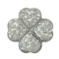 Stainless Steel Bracelet Finding, 304 Stainless Steel, with Clay Pave, Four Leaf Clover, with 39 pcs rhinestone, original color, 15.50x15.50x10mm, Hole:Approx 4.5mm, 50PCs/Lot, Sold By Lot