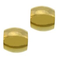 Roestvrijstaal Grote Gat Kralen, 304 roestvrij staal, Ovaal, gold plated, groot gat, 10x11mm, Gat:Ca 6mm, 100pC's/Lot, Verkocht door Lot
