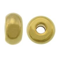 Roestvrijstaal Grote Gat Kralen, 304 roestvrij staal, Rondelle, gold plated, groot gat, 5x10mm, Gat:Ca 2.5mm, 100pC's/Lot, Verkocht door Lot