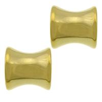 Roestvrijstaal Grote Gat Kralen, 304 roestvrij staal, Bamboe, gold plated, groot gat, 8x8x6.50mm, Gat:Ca 4mm, 100pC's/Lot, Verkocht door Lot
