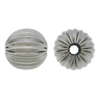 Rustfrit stål Bølgepap Perler, 304 roestvrij staal, Ronde, gegolfd, oorspronkelijke kleur, 8mm, Gat:Ca 2mm, 100pC's/Lot, Verkocht door Lot
