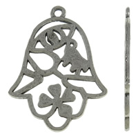 Zinklegering Hamsa Hangers, Zinc Alloy, antiek zilver plated, Joodse Jewelry & Islam sieraden, nikkel, lood en cadmium vrij, 19x27x1mm, Gat:Ca 1mm, Ca 830pC's/KG, Verkocht door KG