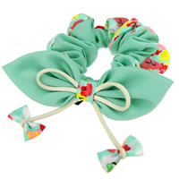 Hair Elastic, Chiffon, with Leather, Bowknot, green, 100mm, 25PCs/Lot, Sold By Lot