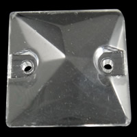 Glass Connector, Square, transparent & 1/1 loop, 16x5mm, Hole:Approx 1mm, 100PCs/Bag, Sold By Bag