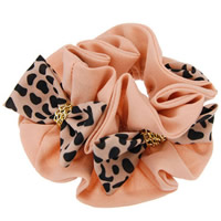 Hair Elastic, Velveteen, with iron chain, Bowknot, leopard pattern, pink, 110mm, 20PCs/Lot, Sold By Lot