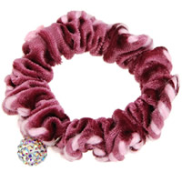 Hair Elastic, Velveteen, with resin rhinestone, pink, 65mm, 20PCs/Lot, Sold By Lot