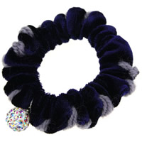Hair Elastic, Velveteen, with resin rhinestone, dark blue, 65mm, 20PCs/Lot, Sold By Lot