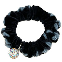 Hair Elastic, Velveteen, with resin rhinestone, black, 65mm, 20PCs/Lot, Sold By Lot
