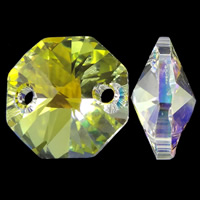 CRYSTALLIZED™ Connector, Octagon, colorful plated, faceted & 1/1 loop, 14x8mm, Hole:Approx 1mm, 5PCs/Bag, Sold By Bag
