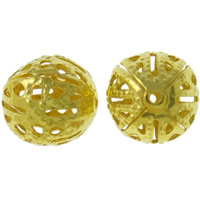Iron Jewelry Beads, Round, gold color plated, hollow, lead & cadmium free, 10mm, Hole:Approx 1mm, 500PCs/Bag, Sold By Bag
