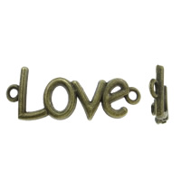 Letter Zinc Alloy Connector, word love, antique bronze color plated, 1/1 loop, nickel, lead & cadmium free, 40x12mm, Hole:Approx 2mm, 200PCs/Bag, Sold By Bag