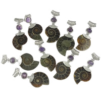Gemstone Pendants Jewelry, Zinc Alloy, with Ammolite & Purple Agate, platinum color plated, hollow, nickel, lead & cadmium free, 29-33x55-64x8-9mm, Hole:Approx 4x5mm, 10PCs/Lot, Sold By Lot