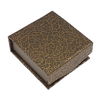 Cardboard Pendant Box, with Velveteen, Rectangle, brown, 77x73x30mm, 48PCs/Lot, Sold By Lot