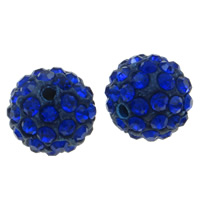 Rhinestone Clay Pave Beads, Round, with rhinestone, blue, 12mm, Hole:Approx 2mm, 50PCs/Bag, Sold By Bag