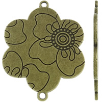 Flower Zinc Alloy Connector antique bronze color plated 1/1 loop nickel lead   cadmium free 37x48x1.50mm Hole:Approx 2mm Approx 135PCs/KG