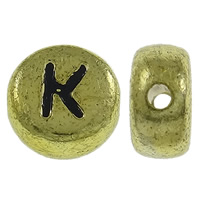 Alphabet Acrylic Beads, Flat Round, antique gold color plated, with letter pattern, 7x3.5mm, Hole:Approx 1mm, Approx 3600PCs/Bag, Sold By Bag
