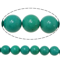 Turquoise Beads, Round, 6mm, Hole:Approx 1.5mm, Length:Approx 16 Inch, 10Strands/Lot, Approx 67PCs/Strand, Sold By Lot